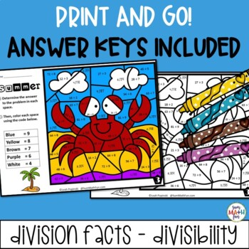 Summer - Division and Divisibility Color by Number