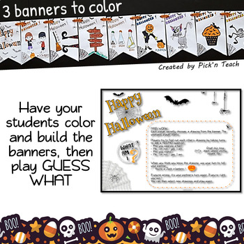 Halloween craft activity, vocabulary and speaking game