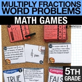 5th - Multiplying Fractions Word Problems Math Centers - M