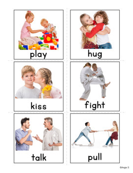 Action Verbs Flash Cards for Special Ed, Speech Therapy, ESL