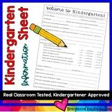 Back to School Kindergarten Information Sheet for Parents to Complete