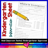Back to School Kindergarten Info Sheet (for parents to fill out about kids)