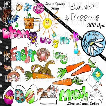 Bunnies & Blossoms - Spring, March, Easter - Clip Art
