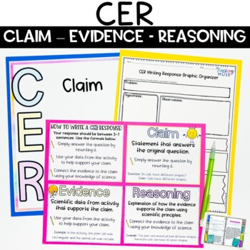 CER Claim Evidence Reasoning Posters and Writing Practice Worksheets