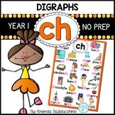 Digraphs: CH Worksheets ~ NO PREP Printables