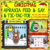 CHRISTMAS APRAXIA FEED & SAY + TIC-TAC-TOE BOOM CARDS™- VC