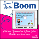 Candy Spiral Math Review Boom Cards for Distance Learning