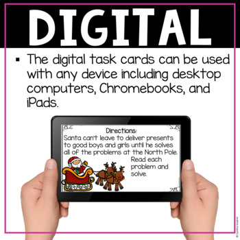 Christmas Digital Task Cards for Addition & Subtraction Word Problems