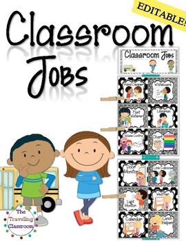 Classroom Jobs {Black & White  Polka Dots }