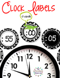 Clock Labels for Telling Time {Black & White Polka Dot Theme}