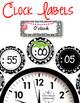 Clock Labels for Telling Time {Black & White Polka Dot Theme}