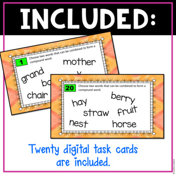 Compound Words Digital Task Cards for Google Slides