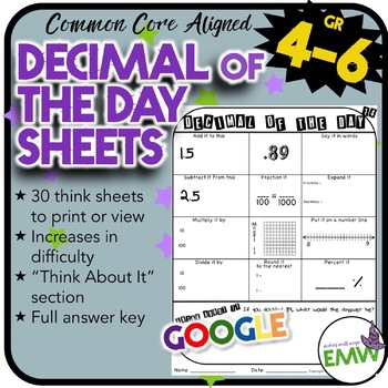 Decimal of the Day Worksheets - Adding/Subtracting Saying
