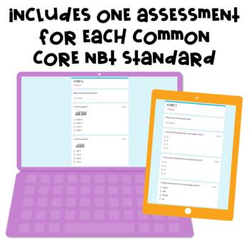 Digital, Self-grading Math Assessments for 4th Grade CCSS {NBT Domain}