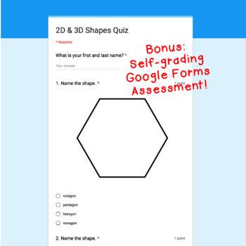 Digital Task Cards for Google Classroom: 2D & 3D Shapes