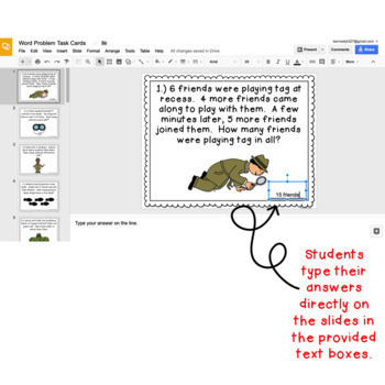 Digital Task Cards for Google Classroom™: Primary Word Problems