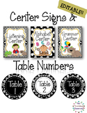 EDITABLE Center Signs & Table Numbers {Black & White Polka Dot Theme}