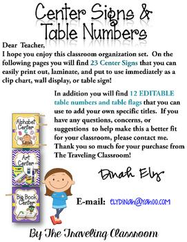 Editable Center Signs Table Numbers - Polka Dot Chevron Theme