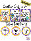 Editable Center Signs Table Numbers - Polka Dot Chevron Theme