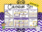 Editable Calendar Set - Polka Dot Chevron Theme