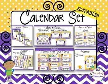 Editable Calendar Set - Polka Dot Chevron Theme