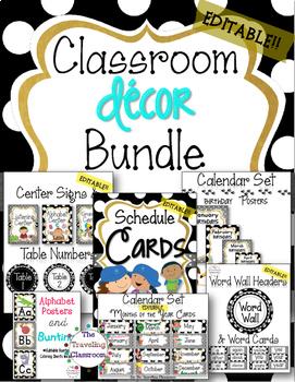 50% off!! Editable Classroom Decor Bundle (BLACK & WHITE POLKA DOT Theme)