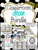 Editable Classroom Decor Bundle BLACK & WHITE POLKA DOT Theme
