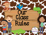 Editable Classroom Rules (Jungle Zoo Safari Theme)