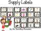 Editable Classroom Supply Labels {Black & White Polka Dots }