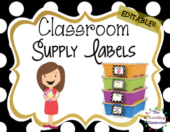 Editable Classroom Supply Labels {Black & White Polka Dots }