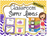 Editable Classroom Supply Labels {Polka Dot Chevron Theme }