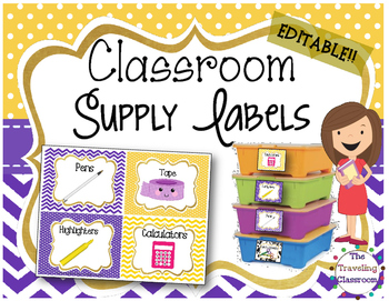Editable Classroom Supply Labels {Polka Dot Chevron Theme }