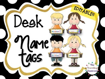 Editable D'nealian Name Plates {Black & White Polka Dots }