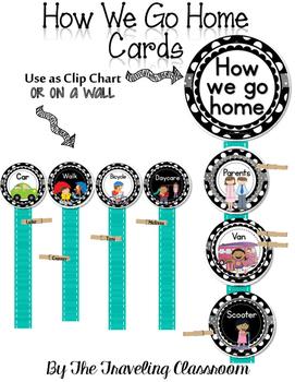 Editable How We Go Home Cards {Black & White Polka Dot}