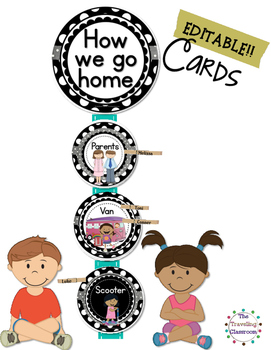 Editable How We Go Home Cards {Black & White Polka Dot}