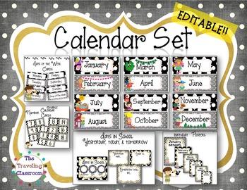 Editable Calendar & Birthday Set {Black & White Classroom Decor}