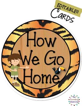 Editable How We Go Home Cards {Jungle Zoo Safari Theme}