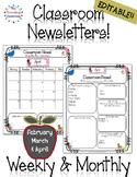 Classroom Newsletter Templates - EDITABLE - (Feb. - April)