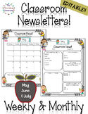 Classroom Newsletter Templates - EDITABLE - (May - July)