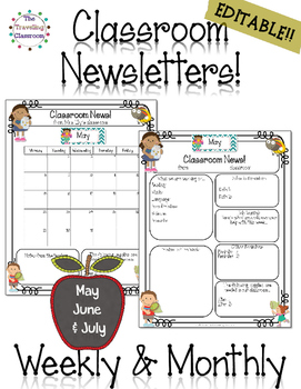 Classroom Newsletter Templates - EDITABLE - (May - July) ~