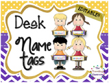 Editable Polka Dot Chevron Name Plates