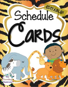 Editable Schedule Cards {Jungle Zoo Safari Theme}