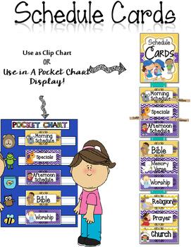 Editable Schedule Cards {Polka Dot Chevron Theme}