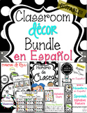 Editable Spanish Classroom Decor Bundle (BLACK & WHITE POLKA DOT)