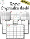 Editable Teacher Planner Organization Sheets - Black & White Polka Dot