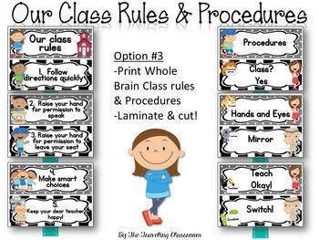 Editable Whole Brain Classroom Rules & Procedures {Black & White Polka}