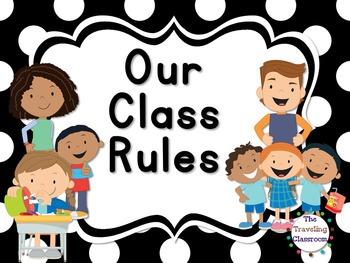 Editable Whole Brain Classroom Rules & Procedures {Black &