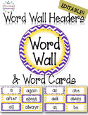 Editable Word Wall Headers & Word Cards {Polka Dot ChevronTheme}