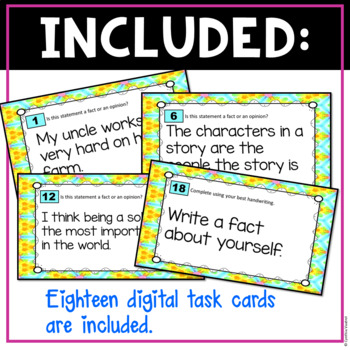 Facts and Opinions Digital Task Cards for Google Slides