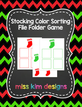 Stocking Color Sorting File Folder Game for students with